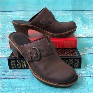Born-Brown Leather Braid Strap Mule Clogs